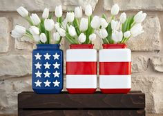 Stars and stripes DIY jars. Patriotic vases. Bring patriotic style to your patio with DIY stars and stripes vases. Just tape stripes and spray on Rust-Oleum spray paint. For the stars, use stencils.