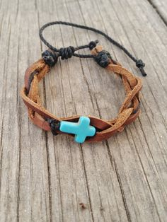 Turquoise Cross Leather Bracelet