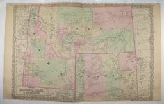Antique Montana Map Wyoming Map, Idaho 1881 Colton Map, Western States Map…