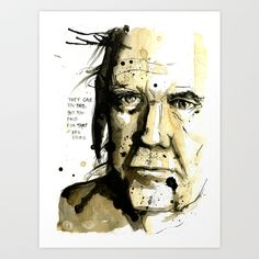 Neil Young Art Print by MikaelBistrom - $18.00