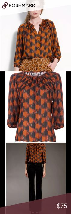 TUCKER Honeycomb Brown Silk Blouse Top $219 TUCKER Honeycomb Brown Silk Blouse Top Sz L  Brown and blue silk blouse from Tucker featuring a honeycomb pattern, a gather detail round neck, button front fastening and a cropped bell sleeves. Tucker Tops Blouses