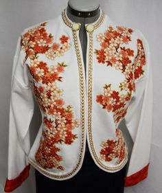 Women's Custom white Jacket with Hand Painted #Fabric #Applique by paulagsell, $244.00