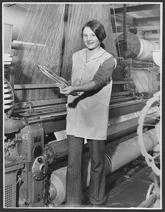 A young cotton weaver working on a Jacquard Loom producing towels, Manchester, England, United Kingdom, 1965, photograph by the Cotton Board (photographer unattributed).