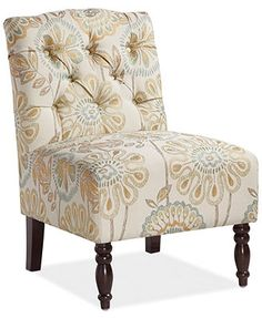 Charlotte Floral Fabric Accent Chair, Direct Ship