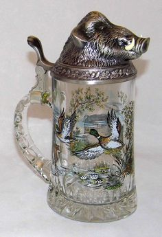 https://flic.kr/p/MnXwmD | Vintage West German BMF Glass & Metal Beer Stein With A Lid Of A Wild Boar Head, 8 Inches Tall To The Top Of The Boars Head, Circa 1980s