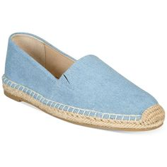Seven Dials Hildie Espadrilles ($39) ❤ liked on Polyvore featuring shoes, sandals, denim, flat heel shoes, espadrille flats, flat slip on shoes, flat pumps and slip on sandals