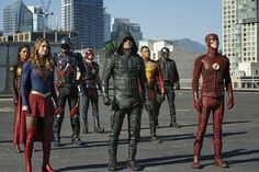 David Ramsey, Brandon Routh, Nick Zano, Stephen Amell, Melissa Benoist, Franz Drameh, Grant Gustin, and Maisie Richardson-Sellers in Legends of Tomorrow (2016)