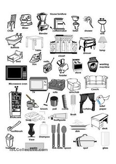Pictionary of House Furniture - ESL worksheets