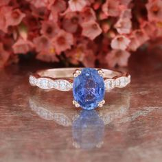 Cornflower Blue Sapphire Solitaire Engagement Ring by LaMoreDesign