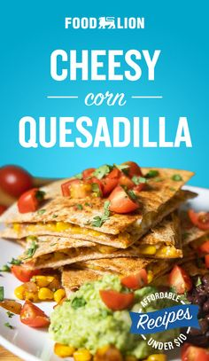 In just 15 minutes you can have the cheesiest and most delicious corn quesadillas. Use Monterrey jack or pepper jack cheese for an added kick! Slow Cooker Recipes, Crockpot Recipes, Chicken Recipes, Cooking Recipes, Easy Recipes, Cheesy Corn, Spanish Dishes, Mexican Food Recipes, Ethnic Recipes