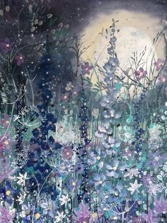 ARTFINDER: Shimmer in the moonlight by Jane Morgan - This painting is all about the soft colours shimmering in the moonlight., I love how the shades change to soft purples and grey blue at night. My moon is lay...