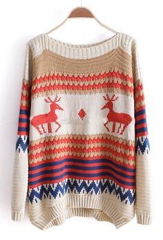 Beige and Khaki Striped Deer Boat Neck Sweater >> Fun winter wear!