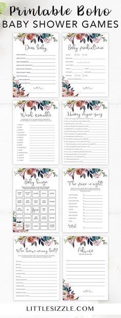 Boho themed baby shower games printable by LittleSizzle. Entertain your baby shower guests with this stunning package of printable shower games with watercolor flowers. These bohemian baby party games are perfect for any floral baby shower, garden shower or outdoor baby shower in spring. No matter what the gender of the new baby, a boho themed shower is a perfect gender neutral theme. Baby bingo, Baby wishes, Baby Word Scramble, Mommy Advice Cards #babyshowerideas #babyshowergames #printable