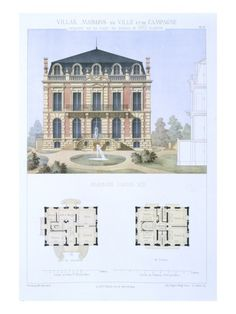 Louis Xiii House, from 'Town and Country Houses Based on the Modern Houses of Paris', Giclee Print Georgian Architecture, Classic Architecture, Architecture Drawings, Architecture Details, House Architecture, Town And Country, Country Houses, Old Houses, Modern Houses