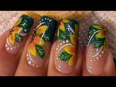 Yellow Summer Flowers Nail Art Design Tutorial - YouTube