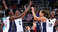 USA women celebrate win over China  The United States celebrates their match win over China during women's Volleyball on Day 5 of the London 2012 Olympic Games at Earls Court.  /Photo/sport/General/01/31/77/671usa-women-celebrate-win-over-china1317767  Related tags