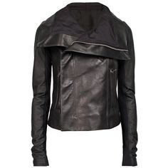 RICK OWENS Combo Leather Jacket ($2,470) ❤ liked on Polyvore