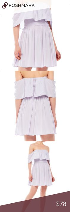 Off the Shoulder Dress NWT Lilac Off the Shoulder Dress. Super cute and flattering! Size medium, light weight material, 100% Rayon, Hand Wash Cold. Re:named Dresses Strapless
