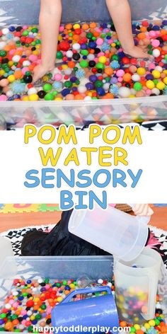 Pom Pom Water Sensory Bin – HAPPY TODDLER PLAYTIME
