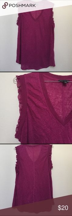 Beautiful Top-FREE SHIPPING TODAY ONLY!! Light weight maroon top with decorative ruffles-100% linen-worn once-from Banana Republic Banana Republic Tops