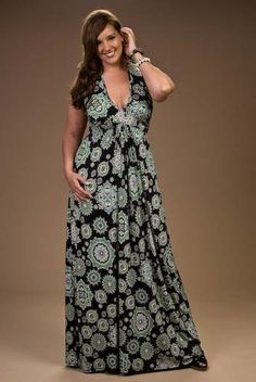 Plus Size Floral Printed Maxi Dress | Plus Size Fashion ...