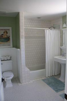 I like the floor tile, but is it hard to keep clean? classic bathroom via pleated poppy