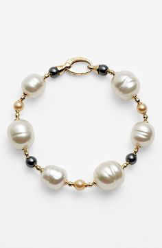 Majorica Pearl Line Bracelet - bracelet inspiration ---baroque pearls with gray white FW pearls