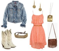 country dresses with jean jackets   country girl chic this outfit is perfect for any country concert you ...  bridesmaid dresses?