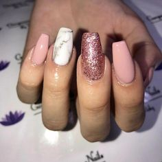 New Year Acrylic Nail Designs. Elegant New Year Acrylic Nail Designs. 50 Trendy Winter Acrylic Glitter Coffin Nail Designs for the Pink Glitter Nails, Cute Acrylic Nails, Fun Nails, Silver Glitter, Nails Acrylic Coffin Glitter, Gold Nails, Nail Pink, Acrylic Gel, Glitter Lips
