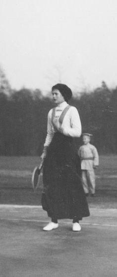 Tatiana playing tennis. tennis costume XIX- XX century