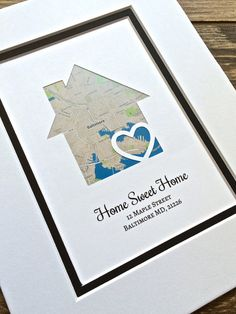 Housewarming Gift – Home Sweet Home -Personalized Map Art- First Anniversary or Wedding Gift- Map Heart Print, Housewarming Gift – Map Gift – Herzlich willkommen First Anniversary Gifts, Paper Anniversary, Anniversary Ideas, Wedding Anniversary, Heart Map, Heart Print, Wedding Vow Art, First Home Gifts, House Map
