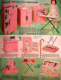 From Santa's Workshop ~ Girls Play Metal Kitchen Pieces - I received the Ironing Board, Stove & Refrigerator from Santa in the early I always wanted this set! Love Vintage, Photo Vintage, Vintage Pink, My Childhood Memories, Childhood Toys, Sweet Memories, Vintage Advertisements, Vintage Ads, Home Decor