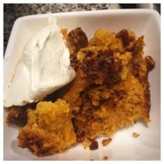Classic dump cake made with pumpkin - this one is easy and great tasting. Pumpkin Crunch Cake, Pumpkin Pecan Pie, Pumpkin Dessert, Pumpkin Recipes, Fall Recipes, Pumpkin Spice, Sweet Recipes, Holiday Recipes, Vegetarian Cake