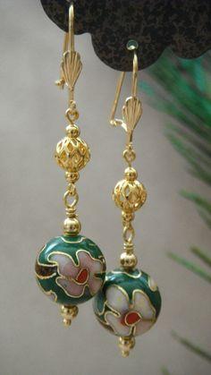Green Cloisonne Earrings by AlicesDoorway on Etsy, $18.00