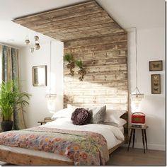reclaimed wood - unusual headboard/ceiling decor