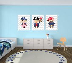 Baby Boy vivero arte pirata vivero trajes azul por HopAndPop