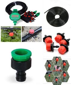 [Visit to Buy] 25m DIY Micro Drip Irrigation System Plant Self Automatic Watering Timer Garden Hose Kits With Adjustable Dripper BH02 #Advertisement
