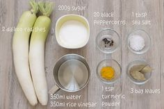 Quick and easy Danmuji recipe. These Korean yellow pickled radishes are crisp and refreshing, plus a good balance between sweetness and acidity. Korean Pickled Radish, Pickled Radishes, Korean Side Dishes, Japanese Pickles, Japanese Food, Radish Recipes, Asian Recipes, Asian Desserts, Kimbap