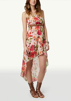 image of Floral Belted High Low Dress