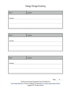 Free printable garage storage inventory form. Now there's one less excuse for not knowing what you've got in there, or where it is. {on Home Storage Solutions 101}
