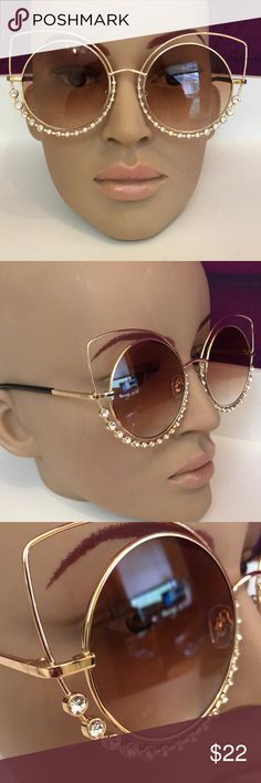 GOLD Rhinestone Geometric point Round Sunglasses Gold tone geometric cat eye point, round sunglasses with rhinestone bottom deco!  Shaded beautifully lighter at the bottom for better visual  with a beautiful brown complementing the top of lenses to keep out more intense light. Not mirrored. Nose grip , no slip comfort. QUALITY. boutique glasses Accessories Sunglasses