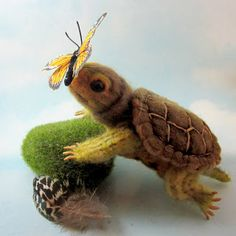 cute NF turtle; Needle Felted Art by Robin Joy Andreae:
