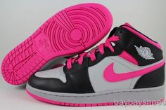 Nike Air Jordan 1 Mid Hi GG Silver White Black Vivid Pink Women Girls Kids Youth | eBay
