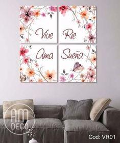 Set De Cuadros Decorativos Ama Vive Rie Sueña Miden 40x40c/u Chanel Art, My Room, Decoupage, Decoration, Diy And Crafts, Canvas Art, Sweet Home, Bedroom Decor, Lettering