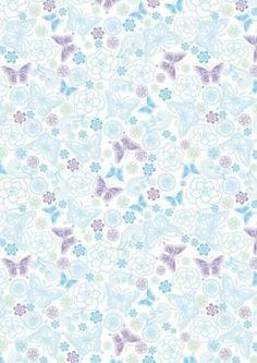 Blue and Lilac Butterflies Scrapbook Paper::