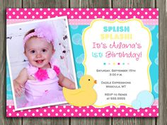 Pink Rubber Duck Birthday Invitation - FREE thank you card included. $15.00, via Etsy.