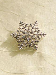 Vintage Snowflake Brooch Estate Jewelry 1970s