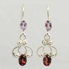 Beautiful Designer Earrings 925 Sterling Silver Real AMETHYST & GARNET Gemstones #SunriseJewellers #DropDangle
