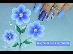 Unhas Decoradas com Flor em CARGA DUPLA Fácil #1 iniciantes CURSO ONLINE - Cusoaline.com - YouTube
