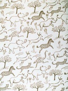 African animal wallpaper: http://www.stylemepretty.com/living/2015/05/21/gender-neutral-safari-nursery/ | Photography: Emily Scannell - http://emilyscannell.com/: